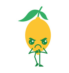 Citrus lemon kawaii cartoon fruit vector