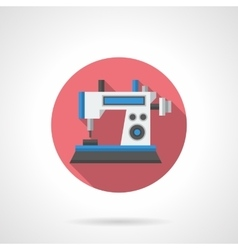 Computer sewing machine flat round icon vector image vector image