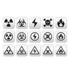Danger risk warning buttons set vector image vector image