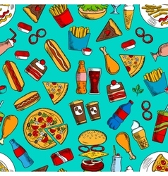 Fast food snacks drinks dessert seamless pattern vector image vector image