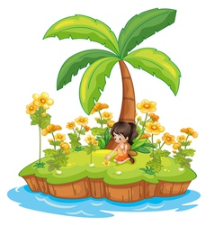 Girl on an island vector image vector image
