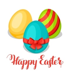 Happy easter greeting card with decorative eggs vector