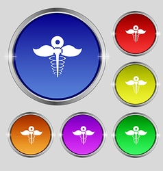 Health care icon sign round symbol on bright vector