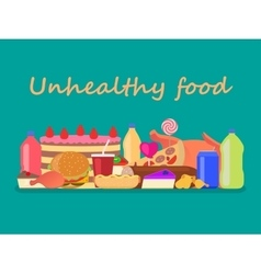 heap colorful harmful unhealthy fast food vector image vector image