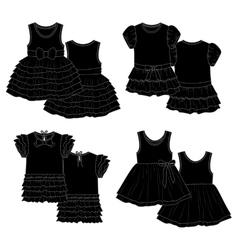 Kids dresses Sketch Black vector image