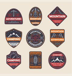 mountain adventures vintage isolated label set vector image vector image