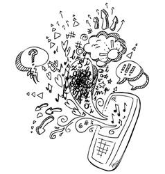 Phone sketchy doodles vector image