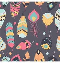 Seamless pattern with bohemian feathers vector image