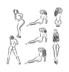 Set of outline silhouettes of sexy girls vector