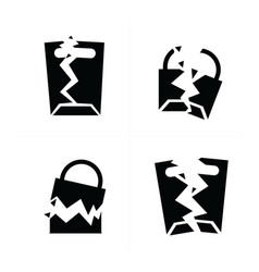 Shopping bags set break style icon vector