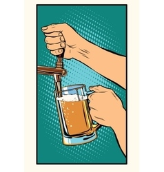 The bartender pours a glass of beer vector