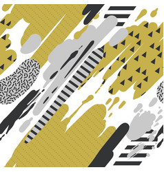 trendy seamless pattern with brush strokes memphis vector image