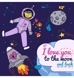Valentines day card with spaceman vector