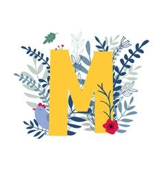 floral alphabet letter m vector image