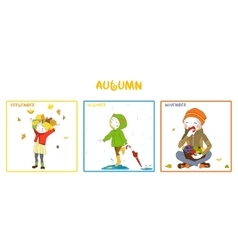 Fall season girl set vector