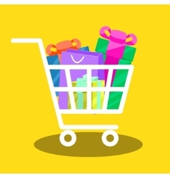Shopping cart full of gift boxes vector image
