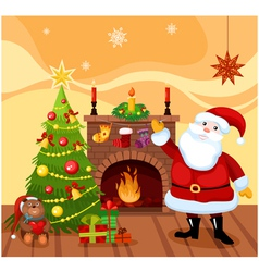 Santa claus with a fireplace vector
