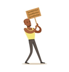 Black guyin sleeveless top marching in protest vector
