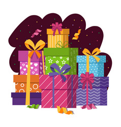 Gift boxes stack in flat style vector