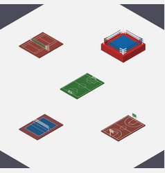 isometric competition set of b-ball soccer vector image