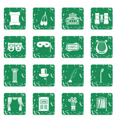 Theater icons set grunge vector