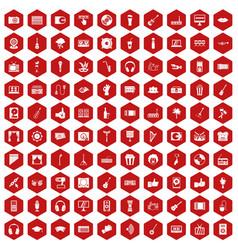 100 karaoke icons hexagon red vector