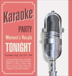 Karaoke retro night background vector
