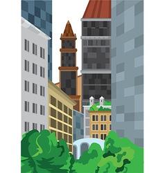 Cartoon tall buildings near green bushes vector