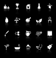 Spa treatment icons with reflect on black vector