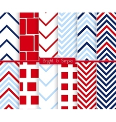 Bright and simple red and blue squares pattern set vector