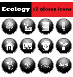 Set of ecological glossy icons vector