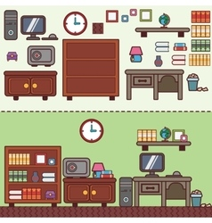 Workplace in room flat vector