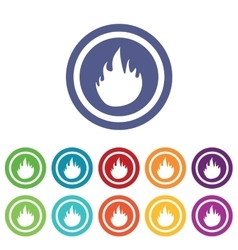 Fire signs colored set vector