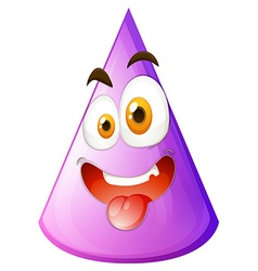 Purple cone with silly face vector