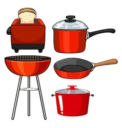 Kitchenware in red color vector
