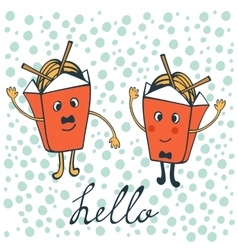 Hello card with funny characters vector