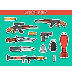 Big doodle set sticker weapon shells handwork vector