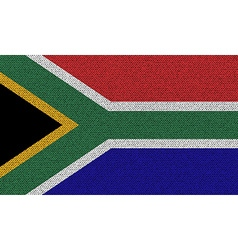 Flags South Africa on denim texture vector image