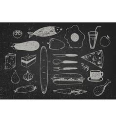 set of hand drawn doodle food on chalkboard vector image