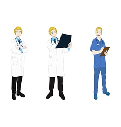 Medical staff man full body caucasian color vector