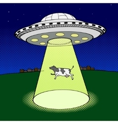 Ufo takes cow pop art style vector