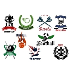Heraldic sport emblems and icons with items vector