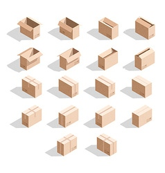 Set of 18 realistic isometric cardboard boxes with vector