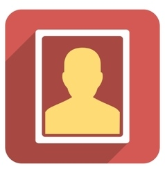 User portrait flat rounded square icon with long vector