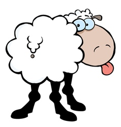 Funky sheep sticking out his tongue vector