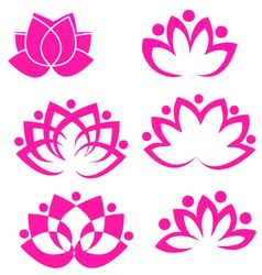 Set of lotus flower logos vector