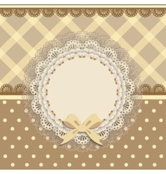 Background card with a cloth napkin and bow vector
