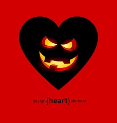 Abstract design element heart with helloween smile vector image vector image