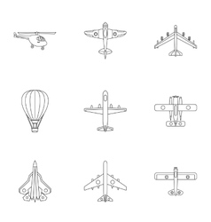 Aircraft icons set outline style vector