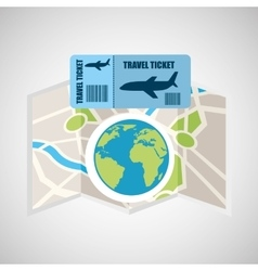 Airline ticket map travel world global vector